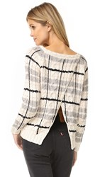 Chaser Open Cross Back Sweater Plaid Cable Knit