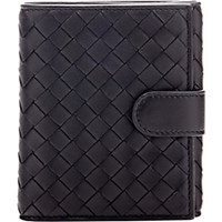 Bottega Veneta Women's Intrecciato Mini Wallet Black Blue Black Blue