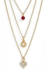 Women's Sequin 'Color Karma' Triple Strand Pendant Necklace Gold Heart