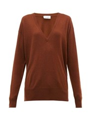 Raey V Neck Fine Knit Cashmere Sweater Dark Orange