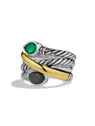 David Yurman Viridian Crossover Ring With Green Onyx Gray Sapphires And Gold Multi