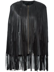 Elie Saab Fringed Cape Black