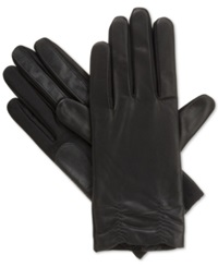 Isotoner Signature Ruched Hem Stretch Leather Tech Touch Gloves Black