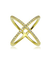Lord And Taylor Saturn Cubic Zirconia 18K Goldplated Sterling Silver Studded Crisscross Ring