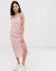 Daisy Street Cami Strap Midi Dress With Thigh Split In Graphic Spot Print Pink