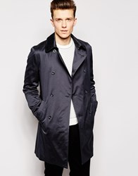 Reiss Double Breasted Trench Coat Charcoal