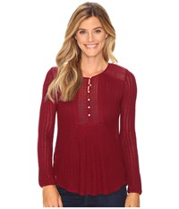 Lucky Brand Drop Needle Knit Top Wild Currant Women's Clothing Red