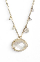 Women's Meira T Stone Pendant Necklace Yellow Gold Mother Of Pearl