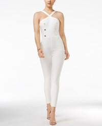 Material Girl Juniors' Embellished Skinny Leg Jumpsuit Only At Macy's White