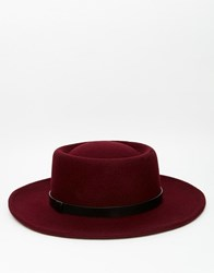 Asos Pork Pie Hat In Burgundy With Wide Brim Burgundy Red