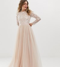 b08e7754030 Needle And Thread Embellished Long Sleeve Maxi Dress With Tulle Skirt In  Rose Quartz Pink