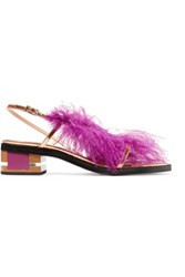 Emilio Pucci Feather Embellished Metallic Leather Sandals Violet