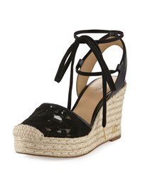 Michael Michael Kors Margie Embroidered Ankle Wrap Espadrille Wedge Sandal Black