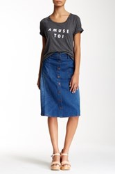 Modern Vintage Buttoned Denim Skirt Blue