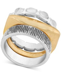 Lucky Brand Two Tone Stone And Textured Stack Look Ring Two Tone