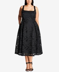 City Chic Trendy Plus Size Fit And Flare Midi Dress Black