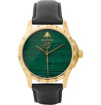 Gucci Gold Pvd Plated And Leather Watch Green