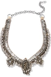 Valentino Crystal Satin And Silver Tone Necklace Nude