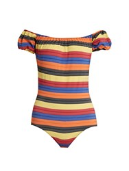 Lisa Marie Fernandez Leandra Striped Swimsuit Yellow Multi