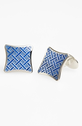 David Donahue Basketweave Cuff Links Silver Light Blue Blue