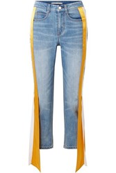Hellessy Carlton Silk Satin Trimmed Distressed High Rise Straight Leg Jeans Light Blue