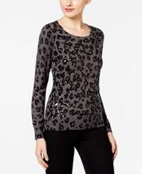 Inc International Concepts Petite Sequined Animal Print Sweater Only At Macy's Medium Grey Heather