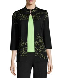 Ming Wang High Neck Embroidered Jacket Black Green