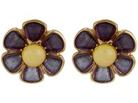 Betsey Johnson Spring Ahead Flower Clip On Earrings Purple Earring