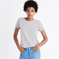 Madewell Whisper Cotton Crewneck Tee In Brion Stripe Bright Ivory