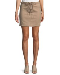 Dex Lace Up Front Pencil Skirt Brown