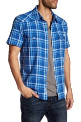Lucky Brand San Gabriel Plaid Short Sleeve Regular Fit Shirt Blue