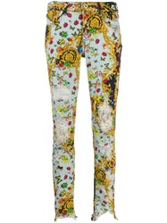 Versace Jeans Couture Multi Print Baroque Skinny Jeans Blue