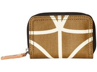 Orla Kiely Matt Laminated Giant Linear Stem Print Medium Zip Wallet Camel Handbags Tan