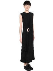 Calvin Klein Pleated Satin Silk And Crepe Dress