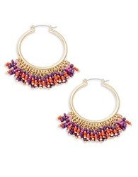 Design Lab Lord And Taylor Beaded Fringe Accented Hoop Earrings Gold