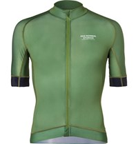 Pas Normal Studios Mechanism Perforated Zip Up Cycling Jersey Green