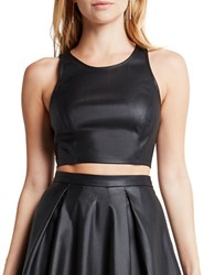 Bcbgeneration Faux Leather Sleeveless Crop Top Black