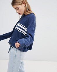 Hollister Oversized Crop Sweat With Raw Hem And Stripe Blue