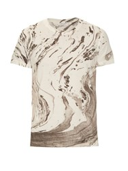 Saint Laurent Marble Print Cotton Jersey T Shirt White Multi