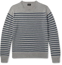 J.Crew Striped Cashmere Sweater Gray
