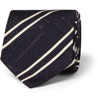 Alfred Dunhill Striped Mulberry Silk Tie Blue