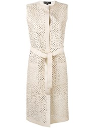 Salvatore Ferragamo Long Lattice Gilet Women Silk Cotton Lamb Skin Viscose S Nude Neutrals
