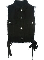 Mm6 Maison Margiela Open Side Denim Gilet Black
