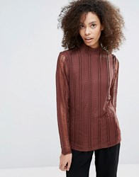B.Young Long Sleeve Lace Top Chestnut Red