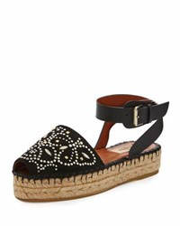 Valentino Studded Double Espadrille Flat Black