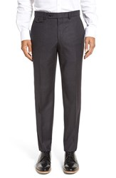 Ted Baker Men's London Columbus Flat Front Check Wool Trousers Charcoal