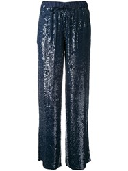 P.A.R.O.S.H. Gughi Sequined Trousers Women Viscose S Blue