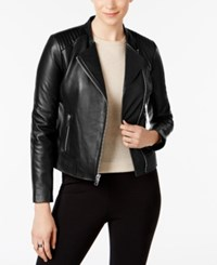 Marc New York Selena Leather Moto Jacket Black