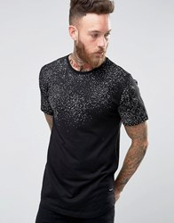 Only And Sons Longline T Shirt With Raised Print Splats Black