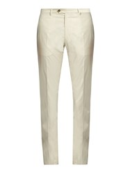 Etro Straight Leg Cotton Blend Chino Trousers Cream